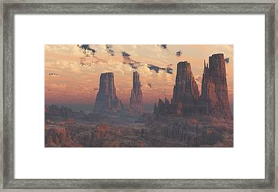 Dusk At The Towers Framed Print