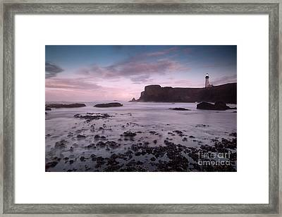 Dusk At Yaquina Head Lighthouse Framed Print by Keith Kapple