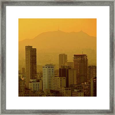 Dusk In Sao Paulo, Brazil Framed Print by Alex Joukowski
