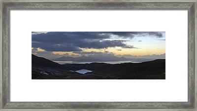 Dusk Panorama Of Skye Framed Print by Gary Eason