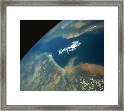 Dust Plume Over The Red Sea Framed Print by Stocktrek
