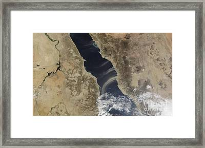 Dust Plumes Blow Off The Coast Of Saudi Framed Print by Stocktrek Images