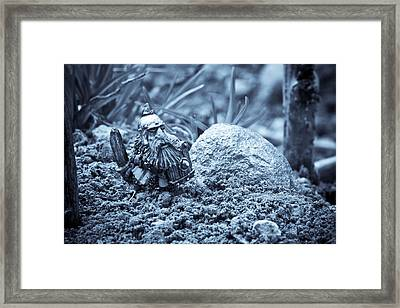 Dwarf Lost In The Enchanted Forest Framed Print by Marc Garrido