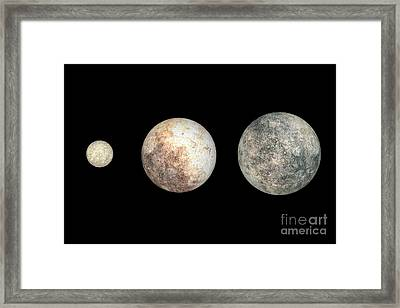 Dwarf Planets Ceres, Pluto, And Eris Framed Print by Walter Myers