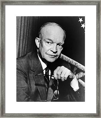 Framed Print featuring the photograph Dwight D Eisenhower - President Of The United States Of America by International  Images