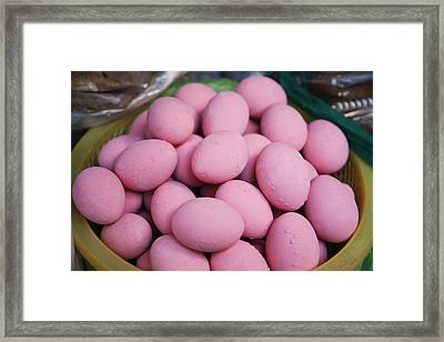 Dyed Poached Pink Eggs At The Central Framed Print by Roberto Westbrook
