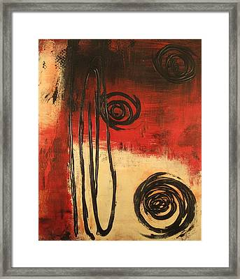 Framed Print featuring the painting Dynamic Red 1 by Kathy Sheeran