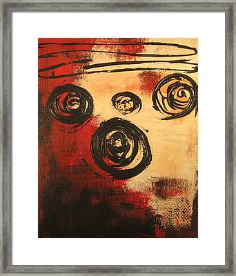 Framed Print featuring the painting Dynamic Red 2 by Kathy Sheeran