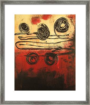 Framed Print featuring the painting Dynamic Red 3 by Kathy Sheeran