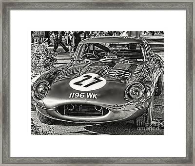 Framed Print featuring the photograph E-type Jaguar - Bw I by Jack Torcello
