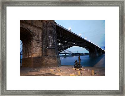 Eads Bridge Lewis And Clark Landing Framed Print