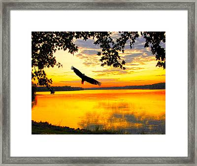 Framed Print featuring the photograph Eagle At Sunset by Randall Branham