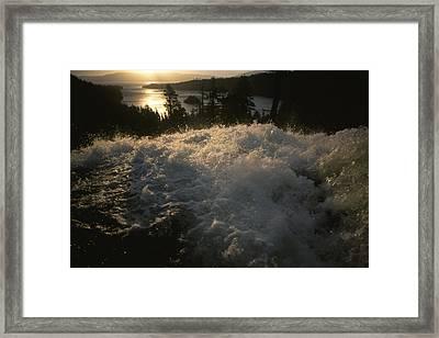 Eagle Falls Plunges Toward Lake Tahoe Framed Print by Phil Schermeister