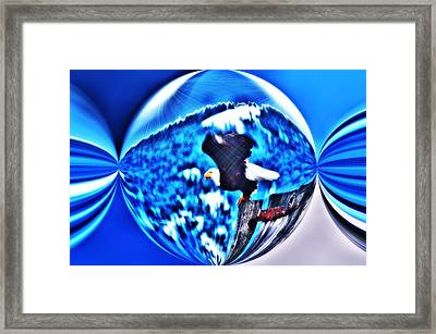 Eagle In Blue Framed Print by Don Mann
