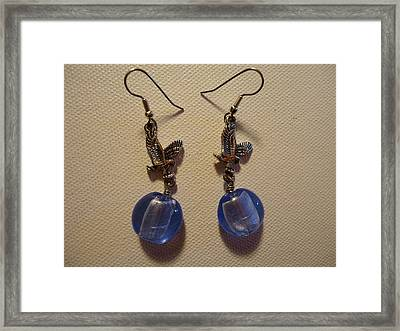 Eagle Soars Blue Sky Earrings Framed Print