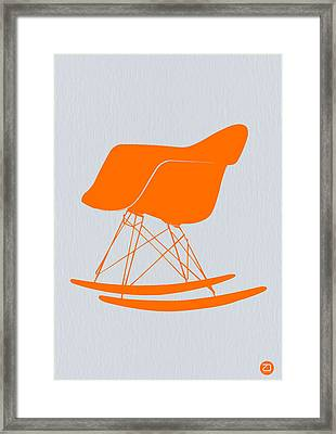 Eames Rocking Chair Orange Framed Print by Naxart Studio