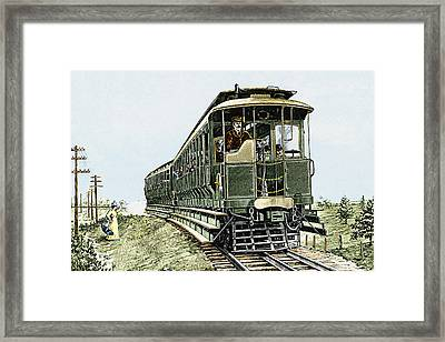 Early Electric Train Framed Print by Sheila Terry
