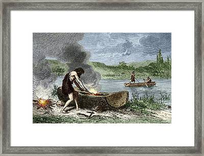 Early Humans Building And Using Boats Framed Print