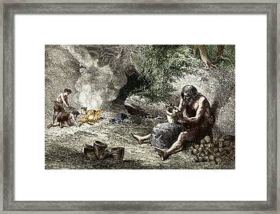 Early Humans Making Pottery Framed Print by Sheila Terry