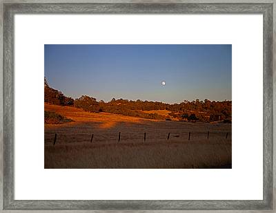 Early Moon Over Campo Seco Framed Print by Joe Fernandez