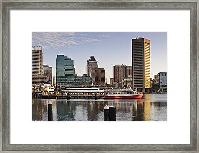 Framed Print featuring the photograph Early Morning Baltimore Inner Harbor by Marianne Campolongo