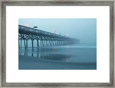 Early Morning Fog At Garden City Pier Framed Print