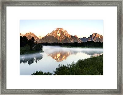 Early Morning Fog Oxbow Bend Framed Print by Paul Cannon