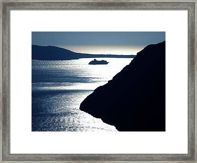 Framed Print featuring the photograph Early Night Santorini Island Greece by Colette V Hera  Guggenheim