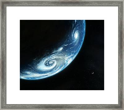 Earth And Moon, Artwork Framed Print by Richard Bizley