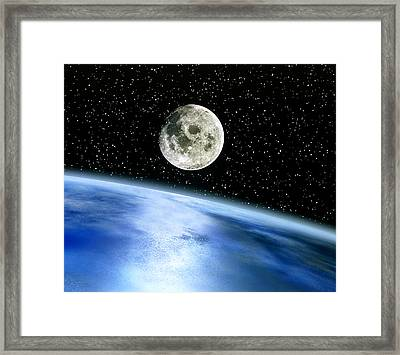 Earth And Moon Framed Print by Julian Baum