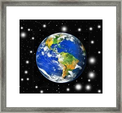 Earth And Stars Framed Print by Odon Czintos