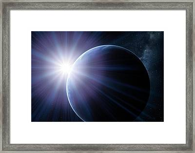 Earth And Sunset From Space, Artwork Framed Print by Detlev Van Ravenswaay