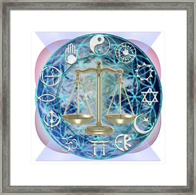 Earth Balancing Chalice-bridging Hearts Intertwined Framed Print