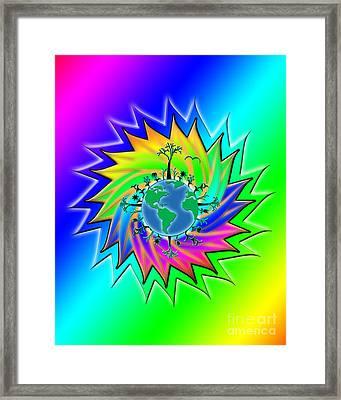 Earth Day Sunburst Transparent Framed Print