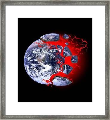 Earth Exploding, Conceptual Image Framed Print