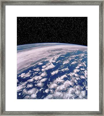 Earth With Starfield Framed Print by NASA / Science Source