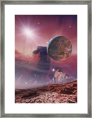Earthlike Planet In Orion Nebula, Artwork Framed Print