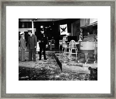 Earthquake Damages A Store In The Heart Framed Print by Everett