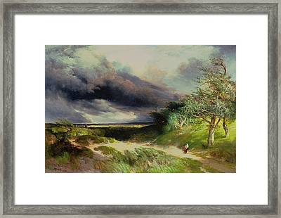East Hamptonlong Island Sand Dunes Framed Print by Thomas Moran