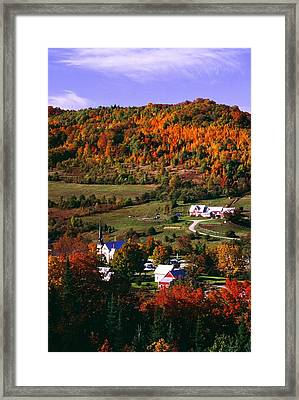 East Orange Village In Fall, Vermont Framed Print by Bilderbuch