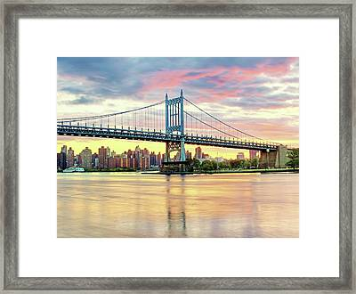 East River Sunset Over Triboro Bridge Framed Print by Tony Shi Photography