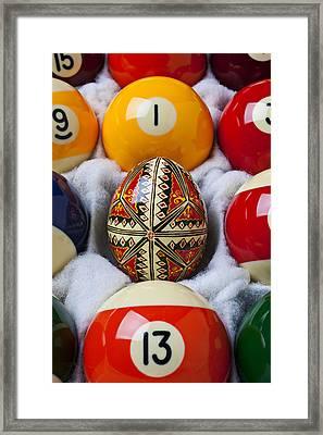 Easter Egg Among Pool Balls Framed Print by Garry Gay