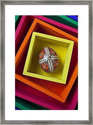 Easter Egg In Box Framed Print by Garry Gay