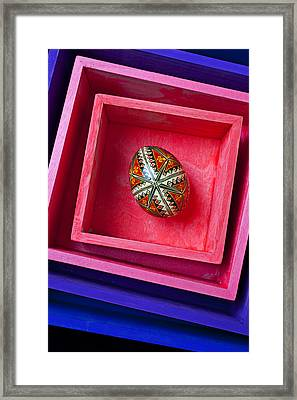 Easter Egg In Pink Box Framed Print by Garry Gay