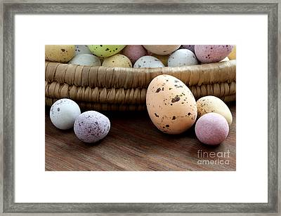 Easter Eggs In A Wicker Basket Framed Print by Richard Thomas