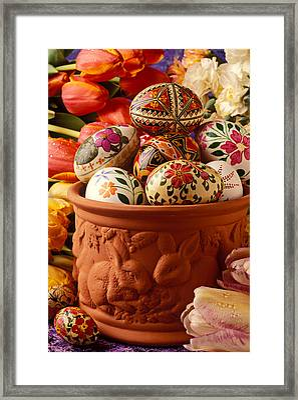Easter Eggs In Flower Pot Framed Print by Garry Gay