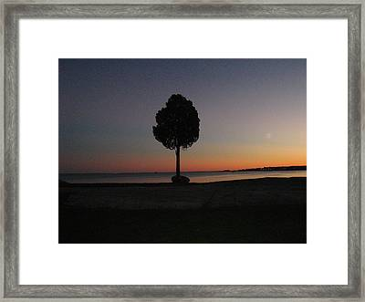 Eastern Sunset And Moon Rise Framed Print by Bruce Carpenter