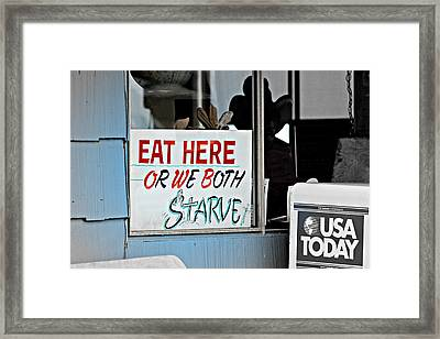 Eat Here Framed Print