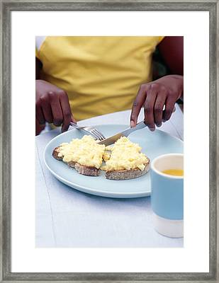 Eating Scrambled Eggs On Toast Framed Print by Veronique Leplat