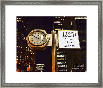 Ebel Street Clock In Nyc Framed Print